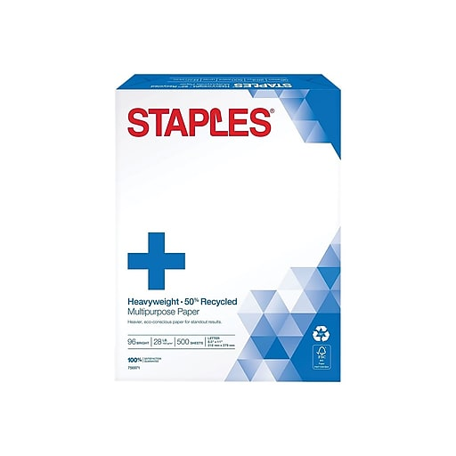 7e414dccba0 Staples 50% Recycled Heavyweight Multipurpose Paper  Ream