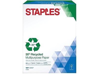 "Staples 30% Recycled 8.5"" x 11"" Multipurpose Paper, 20 lbs., 96 Brightness, 500/Ream (86035)"