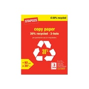"Staples 30% Recycled 8.5"" x 11"" Copy Paper, 20 lbs, 92 Brightness, 500/Ream (112370)"