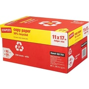 "Staples 30% Recycled 11"" x 17"" Copy Paper, 20 lbs., 92 Brightness, 500/Ream, 5 Reams/Carton (112390)"