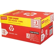 "Staples 30% Recycled 8.5"" x 11"" Copy Paper, 20 lbs., 92 Brightness, 500/Ream, 10 Reams/Carton (112370)"