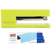 JAM Paper® Office & Desk Sets, (1) Stapler (1) Pack of Staples, Lime Green and Blue, 2/Pack