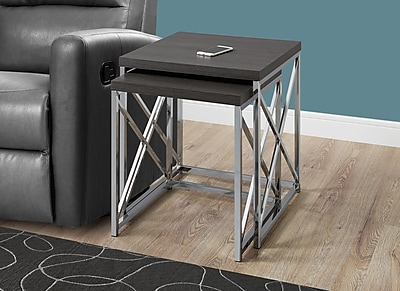 Monarch Accent Nesting Tables Grey with Chrome Metal (I 3226)