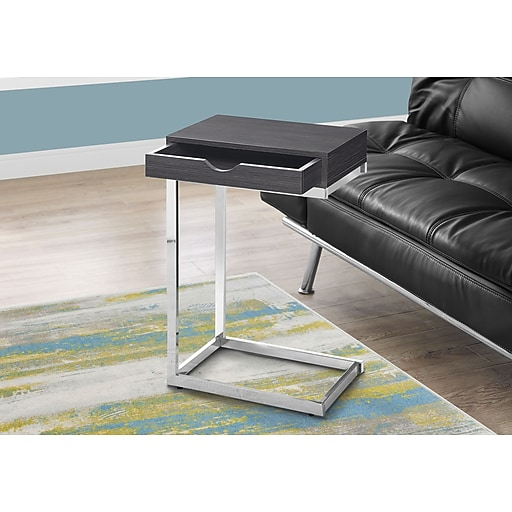 Monarch Accent Table Grey with Chrome Metal (I 3229)