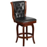 26'' High Cherry Wood Counter Height Stool with Black Leather Swivel Seat [TA-240126-CHY-GG]