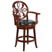 26'' High Cherry Wood Counter Height Stool with Arms and Black Leather Swivel Seat [TA-550226-CHY-GG]
