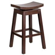 30'' High Saddle Seat Cappuccino Wood Barstool with Auto Swivel Seat Return [TA-SADDLE-1-GG]