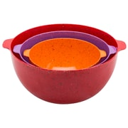 Sprinkles Recycled Plastic Mixing Bowl Set (3-piece) - Red, Orange & Orchid