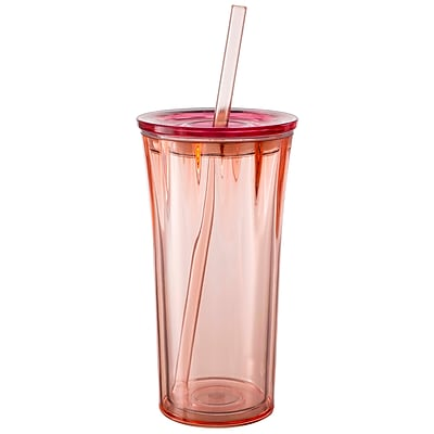 Clarion Insulated Tumbler with Straw - Vermillion with Berry Lid 2464872