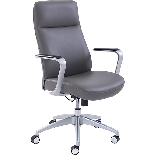 La-Z-Boy Savona Leather Adjustable Height Ergonomic Managers Chair (Gray)
