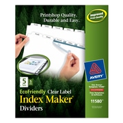 Avery EcoFriendly Maker 5 Tab Dividers, White, 5/Pack (AVE11580)