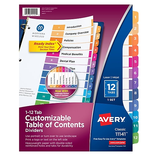 Avery 12 Tab Ready Index Multicolor Table Of Contents Dividers 1