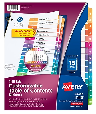 Avery® Ready Index® Table of Contents Dividers for Laser/Inkjet Printers, 15-Tab, Multicolor (11143)