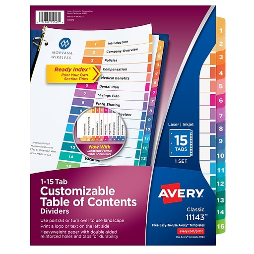 Avery 15 Tab Ready Index Multicolor Table Of Contents Dividers 1 Set Pack Staples