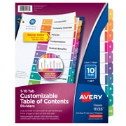 Avery Customizable Table of Contents Paper 10 Tab Dividers, Multicolor, Set (11135)