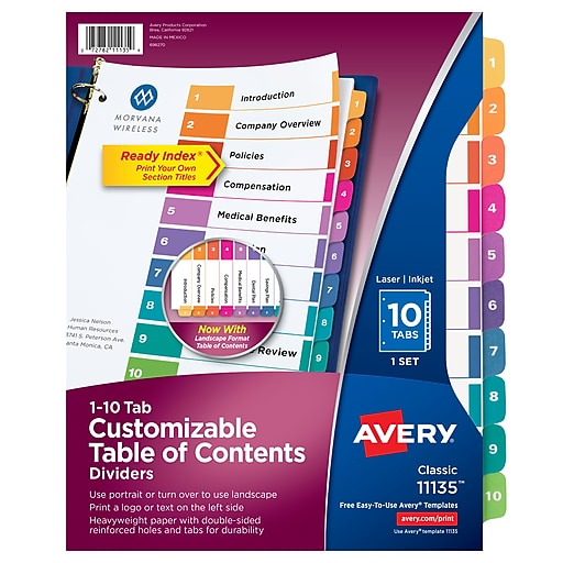 Avery Customizable Table Of Contents Paper 10 Tab Dividers Multicolor Set 11135
