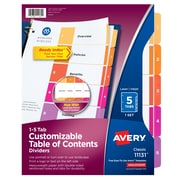 Avery Customizable Table of Contents Paper 5 Tab Dividers, Multicolor, Set (11131)