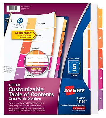 Avery Ready Index Extra-Wide Table of Contents Dividers, 5 Multicolor Tabs, 1 Set (11161)