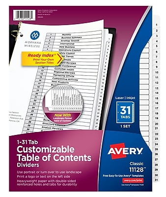 graphic relating to Table of Contents Printable identify Avery Customizable Desk of Contents Dividers, Prepared Index Printable Element Titles, Preprinted 1-31 White Tabs, 1 Established (11128)