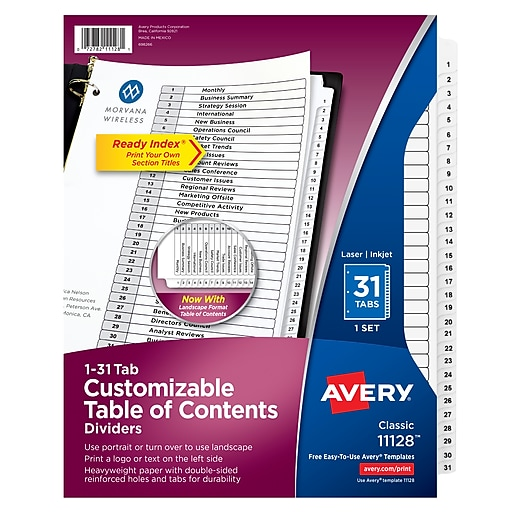 Avery Customizable Table Of Contents Dividers Ready Index Printable Section Les Preprinted 1