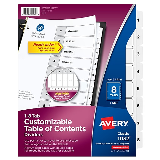 Avery 8 Tab Ready Index Classic Black White Table Of Contents