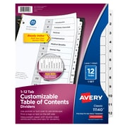 Avery Ready Index Paper 12 Tab Dividers, White With Black Print, Set (11140)