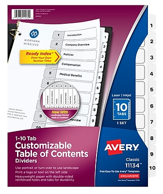 graphic about Printable Index Tabs identify Avery Customizable Desk of Contents Dividers, Well prepared Index Printable Aspect Titles, Preprinted 1-10 White Tabs, 1 Mounted (11134)