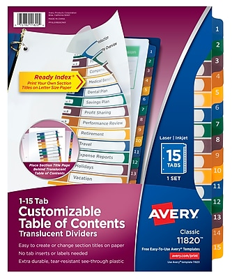 Avery® Ready Index® Plastic Table of Contents Dividers, 1-15 Tab, Multicolor, 8 1/2