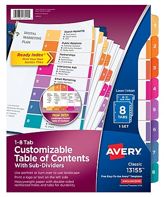 Avery® Ready Index® Table of Contents Dividers with Sub-Dividing Tabs, 1-8 Tab, Multicolor, 8 1/2