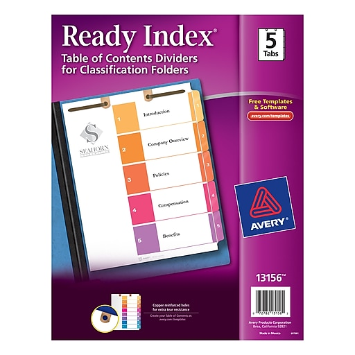 Avery® Ready Index® Table of Contents Dividers for Classification Folders, 5-Tab Set