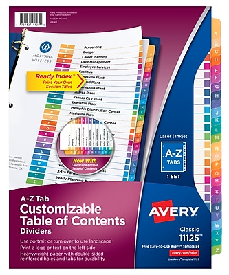 Avery Classic Ready Index Table of Contents Dividers for Laser/Inkjet Printers, A-Z Tabs, Multicolor (11125)