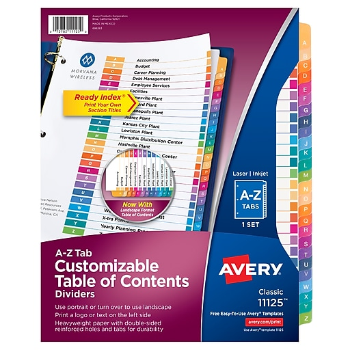 Avery #11125 Ready Index Table of Contents Dividers A-Z