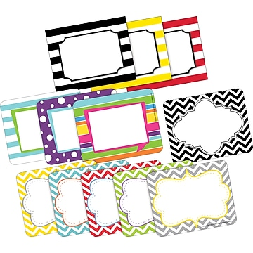 Barker Creek Chevron & Stripes Name Tags, Self-Adhesive Labels Set, 180/Set (BC3784),Size: small
