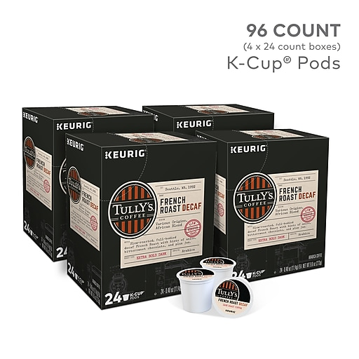 Tully's French Roast Decaf Coffee, Keurig K-Cup Pods, 96/Carton (700282)