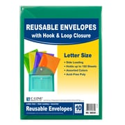 C-Line® XL Reusable Envelopes, Hook and Loop Closure, 8.5 x 11, Assorted Colors, Pack of 10 (CLI58030)