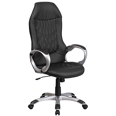 High Black Vinyl Executive Swivel Office Chair [CH-CX0906H-BK-GG]
