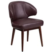 Comfort Back Series Burgundy Leather Reception-Lounge-Office Chair with Walnut Legs [BT-3-BG-GG]