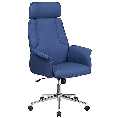 High Back Blue Fabric Executive Swivel Office Chair with Chrome Base [CH-CX0944H-BL-GG]