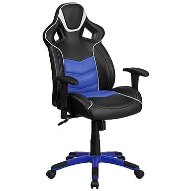 Fauteuil de direction pivotant en vinyle bleu Monterey avec assise confortable à ressorts et base bleue [CP-B331A01-BL-GG]