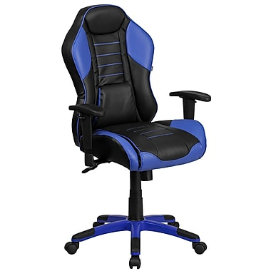 Fauteuil pivotant de direction en vinyle bleu Monterey avec assise confortable à ressorts et base bleue [CP-B329A02-BL-GG]
