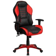 High Back Red Vinyl Executive Swivel Office Chair with Inner Coil Spring Comfort Seat and Red Base [CP-B329A02-RED-GG]