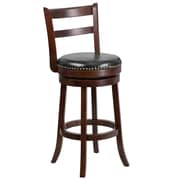 30'' Cappuccino Wood Barstool with Black Leather Swivel Seat [TA-16029-CA-GG]