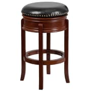 29'' Backless Light Cherry Wood Barstool with Black Leather Swivel Seat [TA-68829-LC-GG]