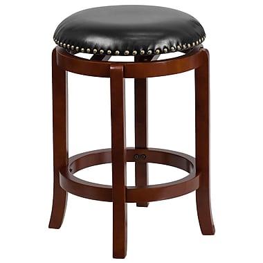 Tabouret de comptoir 24 po en bois de cerisier pâle avec siège pivotant en cuir noir [TA-68924-LC-CTR-GG]