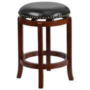 24'' Backless Light Cherry Wood Counter Height Stool with Black Leather Swivel Seat [TA-68924-LC-CTR-GG]