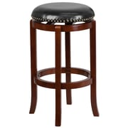 29'' Backless Light Cherry Wood Barstool with Black Leather Swivel Seat [TA-68929-LC-GG]