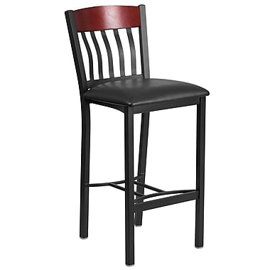 Eclipse Series Vertical Back Black Metal and Mahogany Wood Restaurant Barstool with Black Vinyl Seat [XU-DG-60618B-MAH-BLKV-GG]