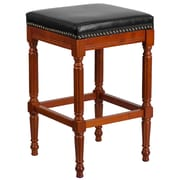 30'' High Backless Light Cherry Wood Barstool with Black Leather Seat [TA-4102A-30-LC-GG]