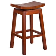 30'' High Saddle Seat Light Cherry Wood Barstool with Auto Swivel Seat Return [TA-SADDLE-LC-1-GG]