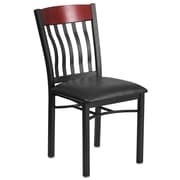 Eclipse Series Vertical Back Black Metal and Mahogany Wood Restaurant Chair with Black Vinyl Seat [XU-DG-60618-MAH-BLKV-GG]